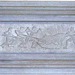 Art and crafts. A Bas-relief which portrays a hunting scene