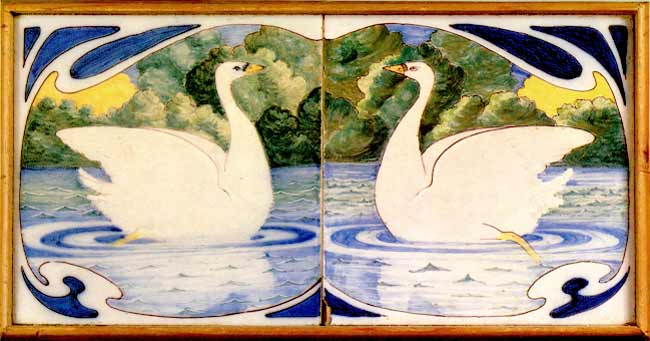Tiles with swans. Galileo Chini. About 1900.