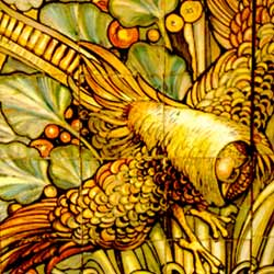 Detail of a panel in polychrome majolica with