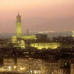 Firenze: Arno and Palazzo Vecchio at night