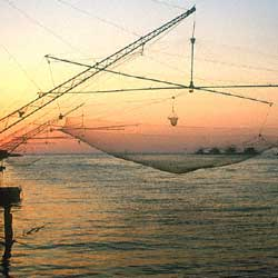 Bocca d'Arno, fishing nets at the sunset