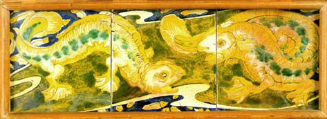 Panel with salamanders - Galileo Chini - About 1900